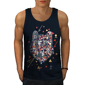 Geometrie-Wolf Cool Men NavyTank Top | Wellcoda