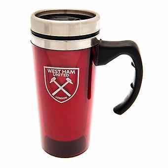 West Ham United FC Official Aluminium Crest Design Travel Mug