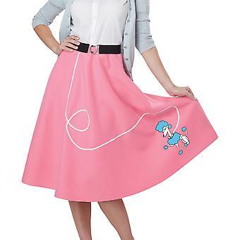 50er Jahre Pudel Fett Sock Hop Bopper Rock N Roll Damen Kostüm rosa Rock