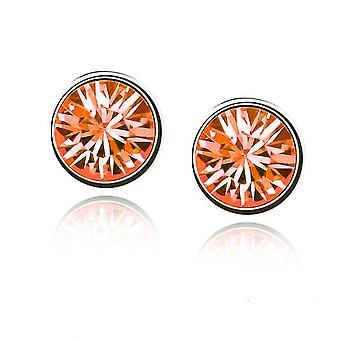 Womens kleine Crystal Gestüt Ohrringe Schmuck Feuer Orange