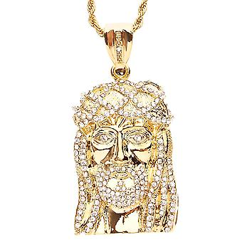 Iced Out Bling Kette - JESUS FACE gold