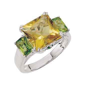925 sterling silver lime kvarts Periodt och krom Diopside ring-storlek 7-10x10mm
