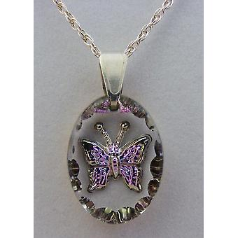Heather Small Oval Butterfly Crystal Pendant