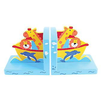 Bigjigs Toys Wooden Children's Bookends (Noah's Ark) Furniture Nursery