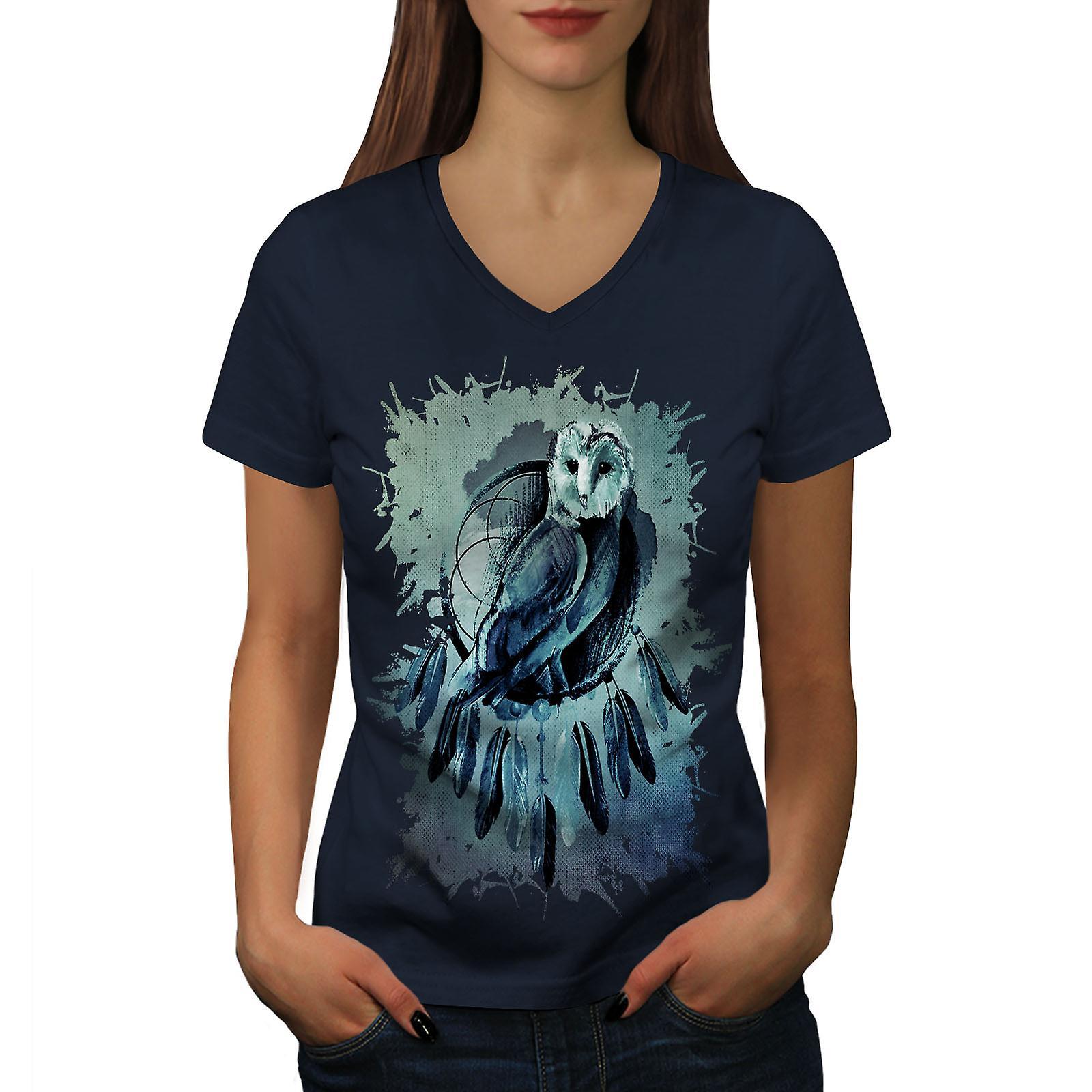 Hibou rêve bête Animal femmes NavyV-Neck T-shirt | Wellcoda