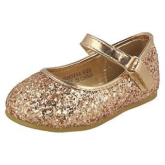 Meisjes plek op Glitter Bar riem ballerina's H2483 - zilver Glitter - UK maat 10 - EU grootte 28 - US maat 11