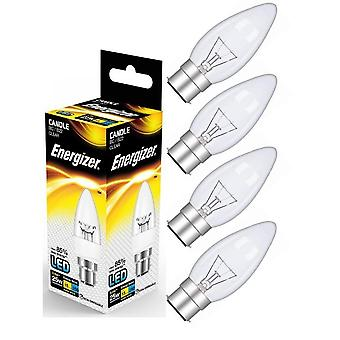 Energizer B22 Bayonet Candle LED Bulb 250lm Clear 3.4W=25W Warm White Various Quantities