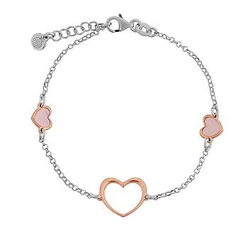 Orphelia Silver 925 Bracelet  with Pink MOP Heart  17+1.5 cm  ZA-7389
