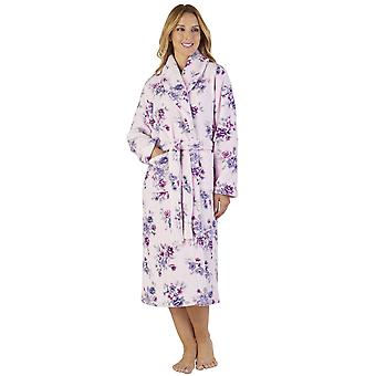 Slenderella HC2313 vrouwen Coral Fleece Floral Robe Lounge Bath badjas