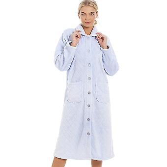 Camille Womens Supersoft Light Blue Button Front Diamond Print Housecoat