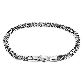 Anchor and Crew Staysail Double Sail Chain Bracelet - Silver