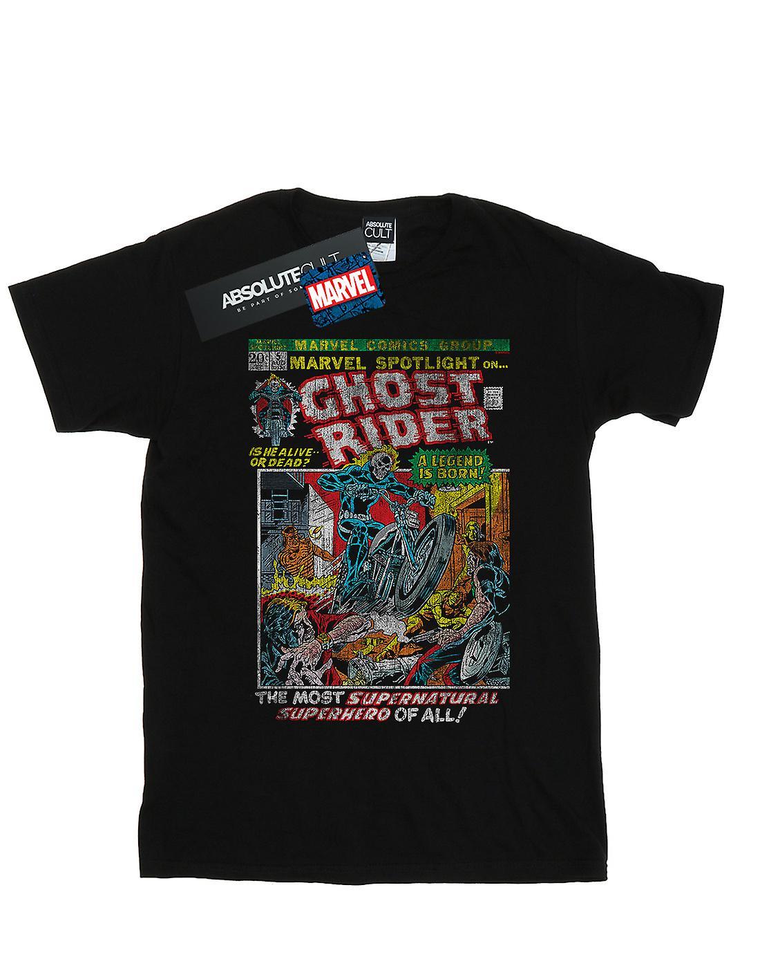 Marvel Women's Ghost Rider Distressed Spotlight Boyfriend Fit T-Shirt