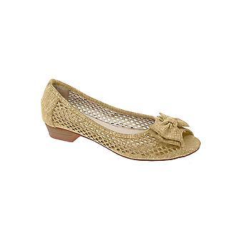 FLC043 Kane dames geperforeerd Peep Toe Bow lage hak ademend Pumps schoenen