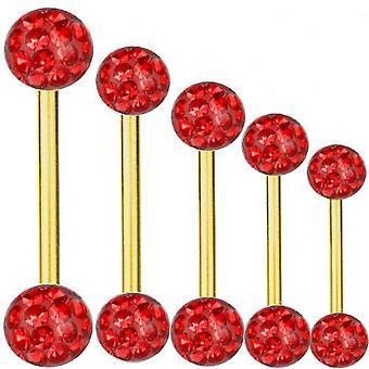 Piercing titanio oro in barre placcato 1,2 mm, Multi sfera di cristallo rosso | 6 - 16 mm