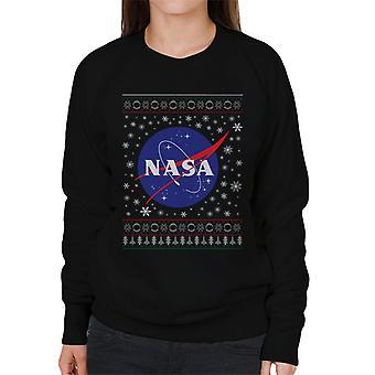 The NASA Classic Insignia Christmas Knit Pattern Women's Sweatshirt