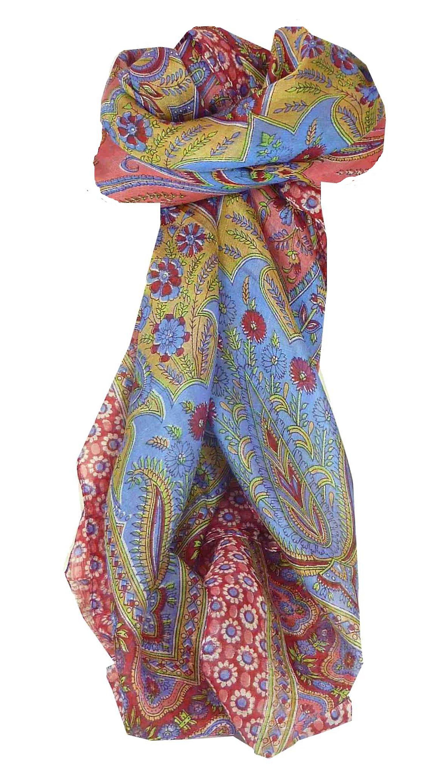 Mulberry Silk Traditional Square Scarf Koyna Red by Pashmina & Silk