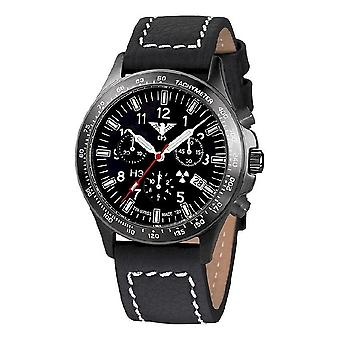KHS horloges mens watch zwarte peloton titanium chronograaf KHS. BPTC. LBB