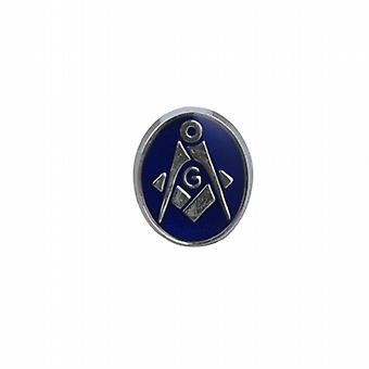 Silver 12x10mm oval cold cure enamel Masonic with 'G' Tie Tack