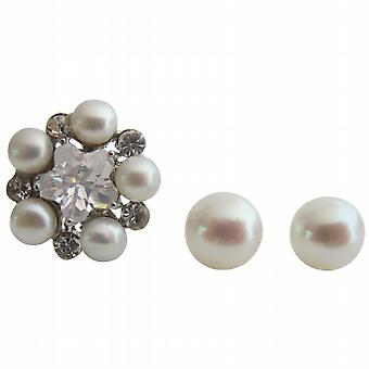 Gorgeous Gift Ring & Stud Earrings Oyster Shell White Pearl