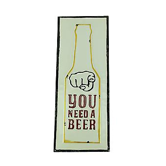 White Metal You Need a Beer Sign Wall Decor