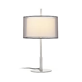 Faro - Saba Matt nikkel bred bordlampe med dobbelt skygge FARO68545