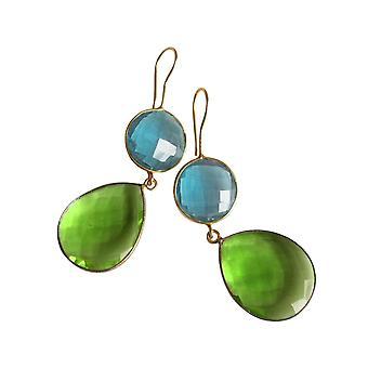 Gemshine örhängen blå topas och Peridot droppar i 925 silver eller guldpläterad