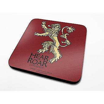 Jeu de sous-verres trônes maison Lannister ensemble de 6, Cork rouge imprimé, couché.