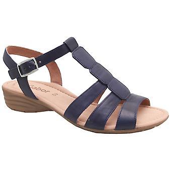 Sandale de cuir plat Gabor bleu marine en forme de t