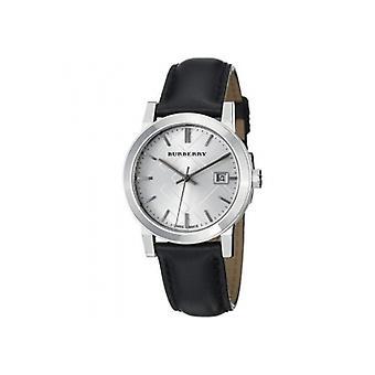 巴宝莉 Bu9106 妇女_apos;s 检查黑色皮革表带手表