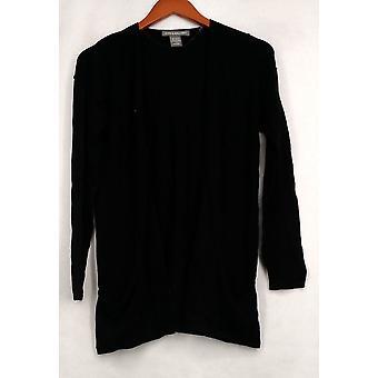 Kate & Mallory trui draperen Pocket vest blootgestelde naden zwart A421265