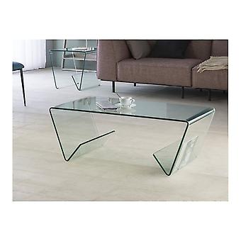 Schuller Clear Modern Curved Glass Coffee Table