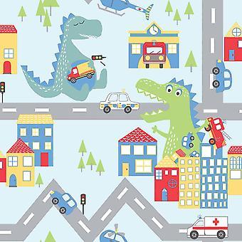 Children's Dino Road Wallpaper White Blue Nursery Cars Dinosaurs Holden Decor