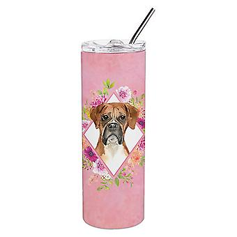 Boxer Pink Flowers Double Walled Stainless Steel 20 oz Skinny Tumbler