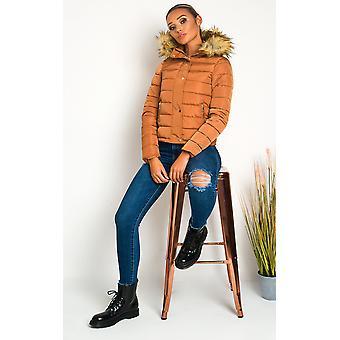 IKRUSH Womens Jennifer Padded Faux Fur Hood Puffer Jacket