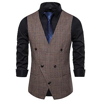 Allthemen Men ' s Plaid kétsoros Four Seasons V-nyak suit mellény