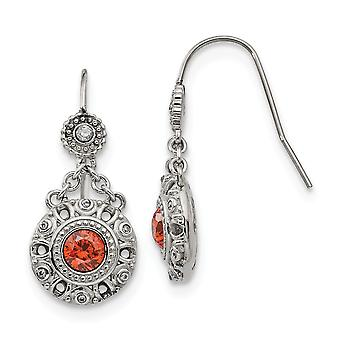 Stainless Steel Polished Red and Clear CZ Cubic Zirconia Simulated Diamond Circle Earrings Jewelry Gifts for Women