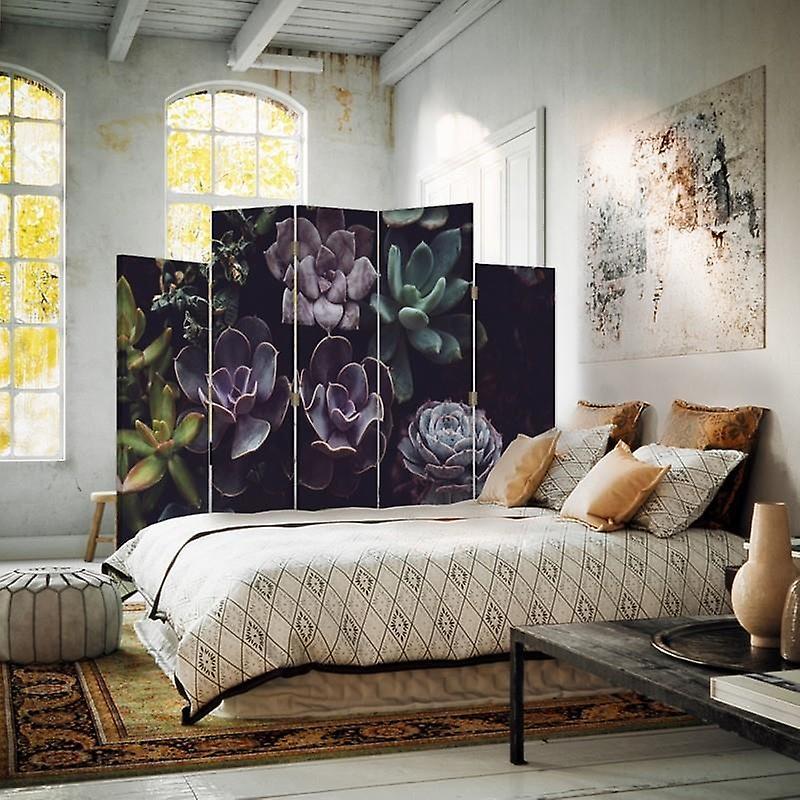 Diviseur de pièce décorative, 5 panneaux, double-sided, toile rotative de 360 , jardin de cactus 2