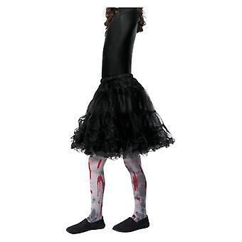 Mädchen Zombie Schmutz Strumpfhosen mit Blut Splatter Halloween Zubehör