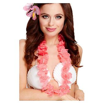 Womens Girls Pink Hawaiian Lei Fancy Dress Accessory
