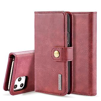 Dg. MING iPhone 11 Pro Max Split Leather wallet Case-red