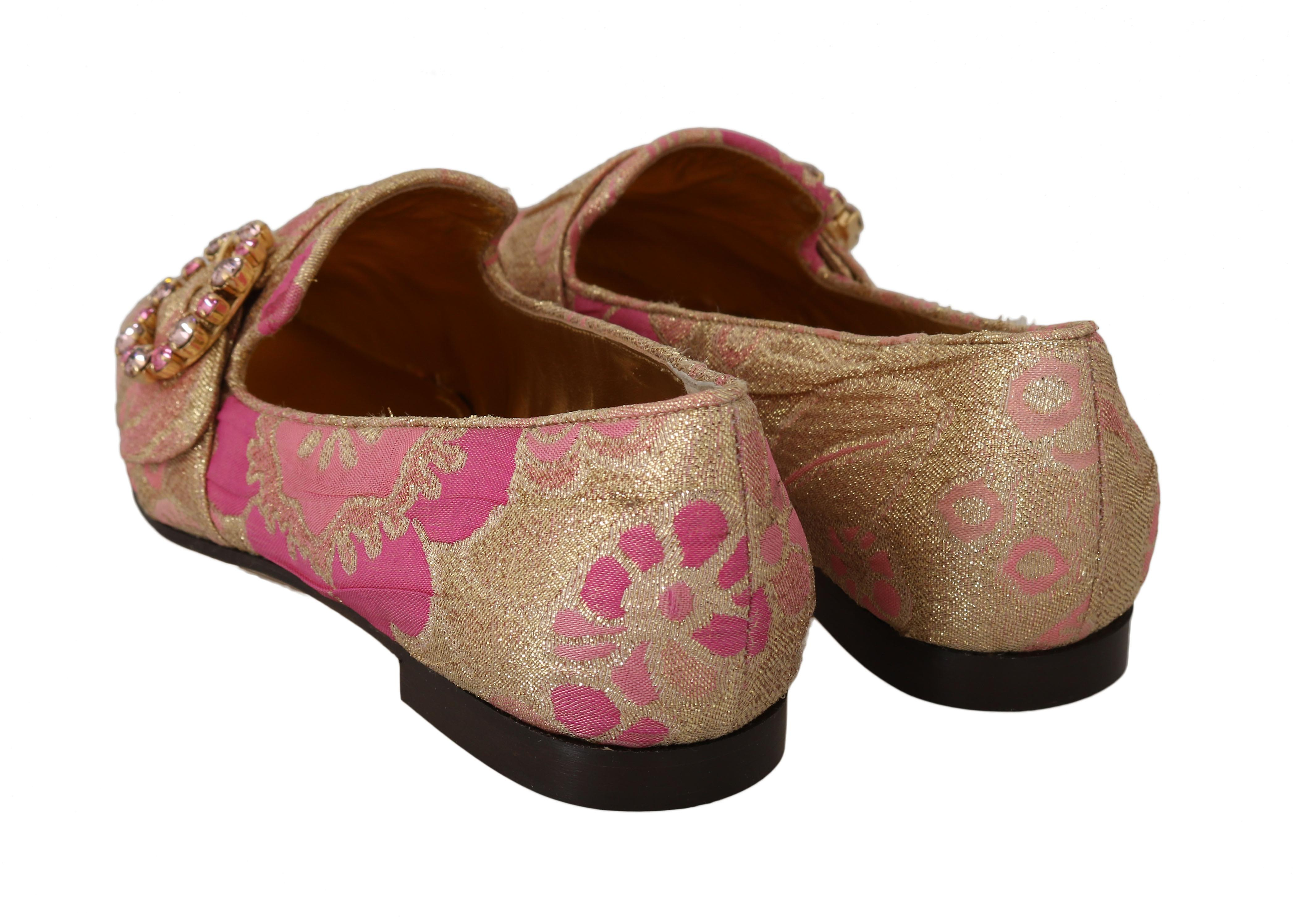 Gold Pink Brocade Crystal Loafers
