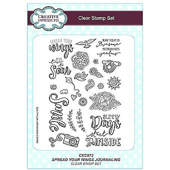 Creative Expressions A5 Clear Stamp Set - CEC872 Journalling - Spread Your Wings