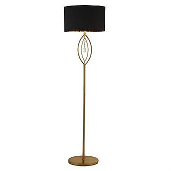 Searchlight Crown 1 ljus golvlampa mässing guld, svart nyans 9139GO