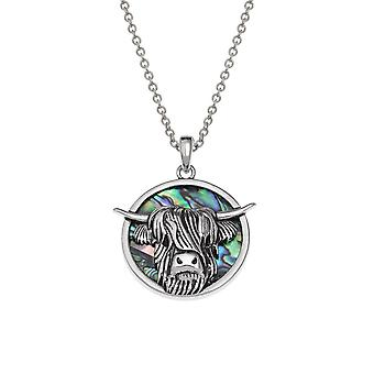 Eternal Collection Highland Cow Paua Shell Silver Tone Pendant