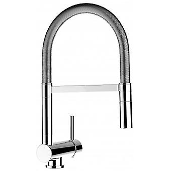Single-lever Kitchen Sink Mixer With Stainless Steel Spring - Folding Spout And 2 Jets Shower - 482