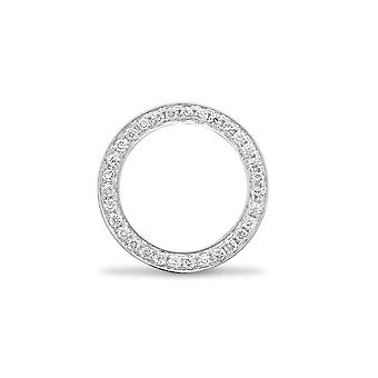 Jewelco London solid 18ct hvid guld pave sæt runde G SI1 0,25 CT diamant Halo Hoop Eternity vedhæng