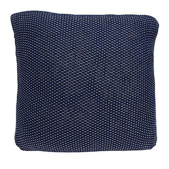 Casual Square Sweater Strik Navy Blue Accent Pillow Cover