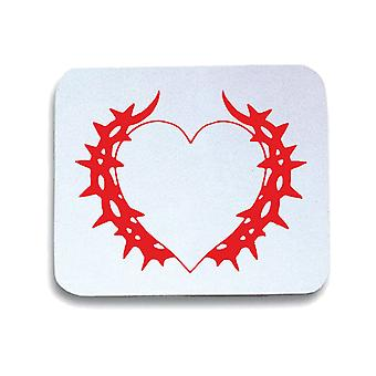 White white mouse pad pad fun1742 heart with thorns