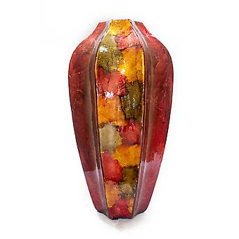 """8.5"""" X 8.5"""" X 16"""" Copper Red and Gold Ceramic Table Vase"""