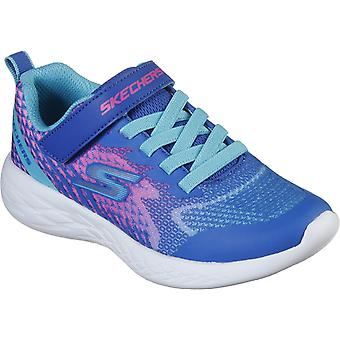 Skechers Kids Go Run 600-Radiant Runner Ombre Touch Fastening Strap Trainer with 3D Print